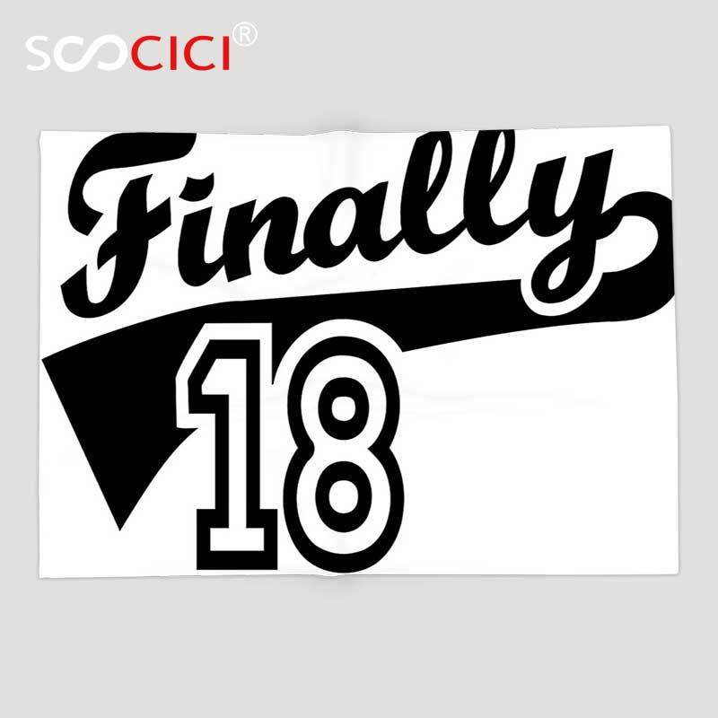 Couverture de jet d'ouatine douce faite sur commande 18th décoration d'anniversaire finalement dix-huit citation icône de Logo de basket-ball semblait Image