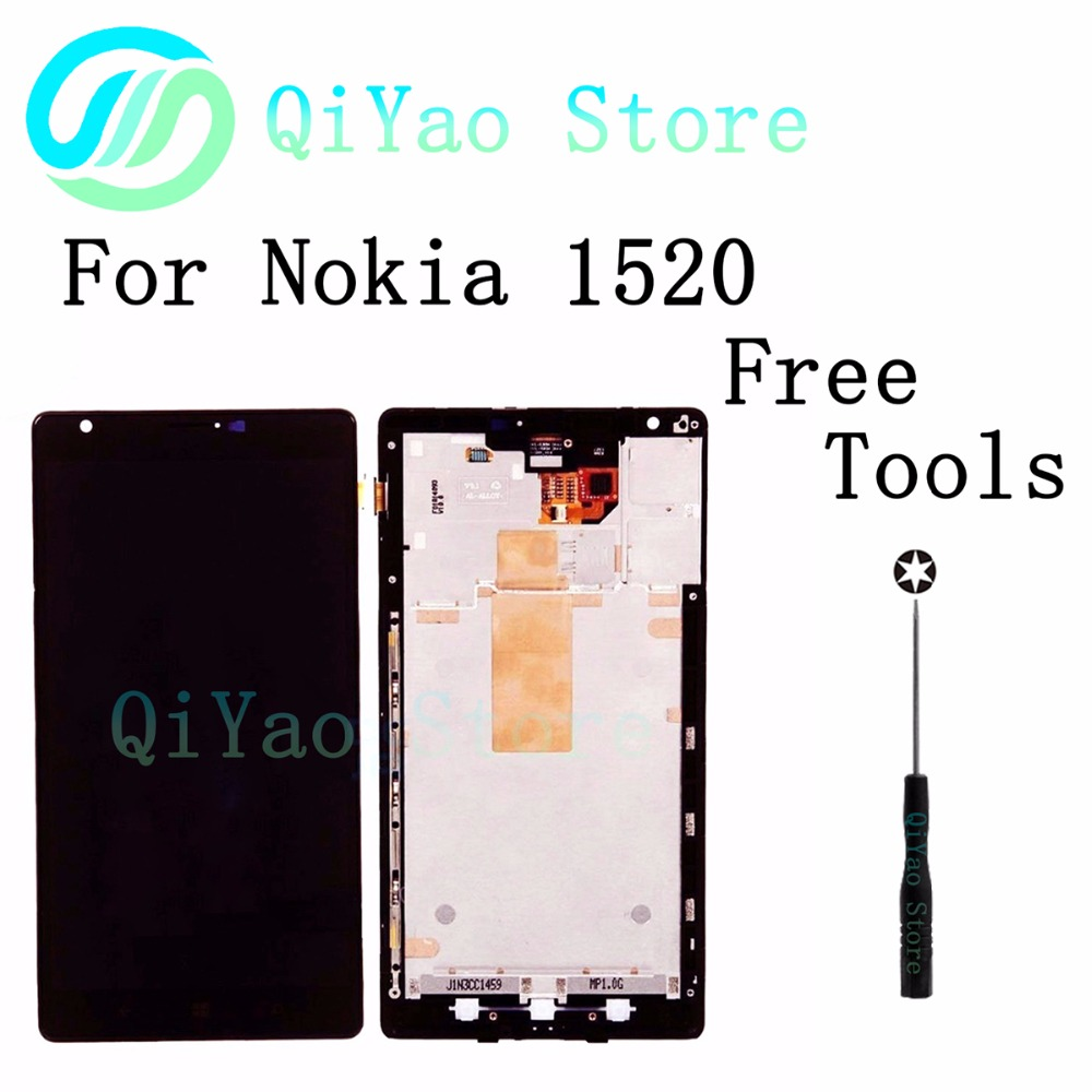 Подробнее о Black for Nokia Lumia 1520 LCD Display Touch Screen with Digitizer Full Assembly with bezel frame Free Tools lcd display screen with touch screen digitizer with frame assembly full set for nokia lumia 1320