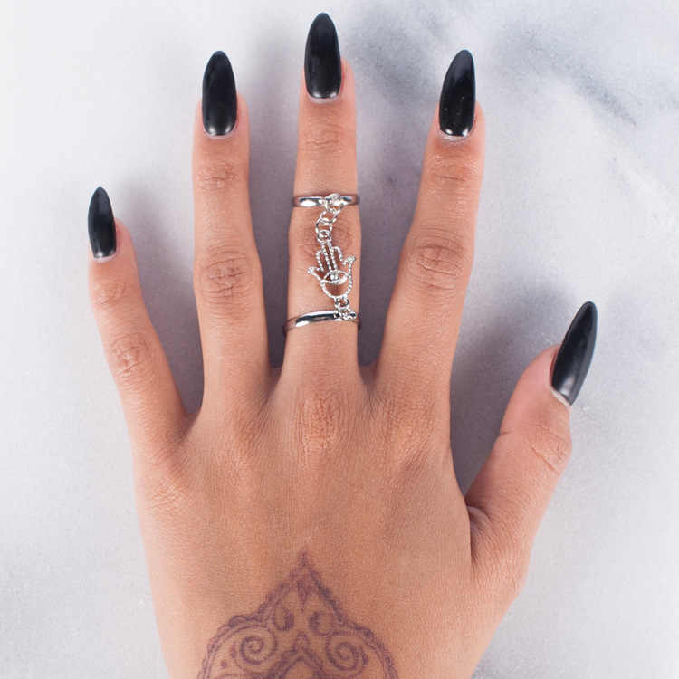 ผู้หญิงโบฮีเมียนทองสีชุดแหวน Vintage แฟชั่น Anti Gold แหวน Fatima มือ Bergamot Tassel Chain Joint rRng สำหรับสตรี party