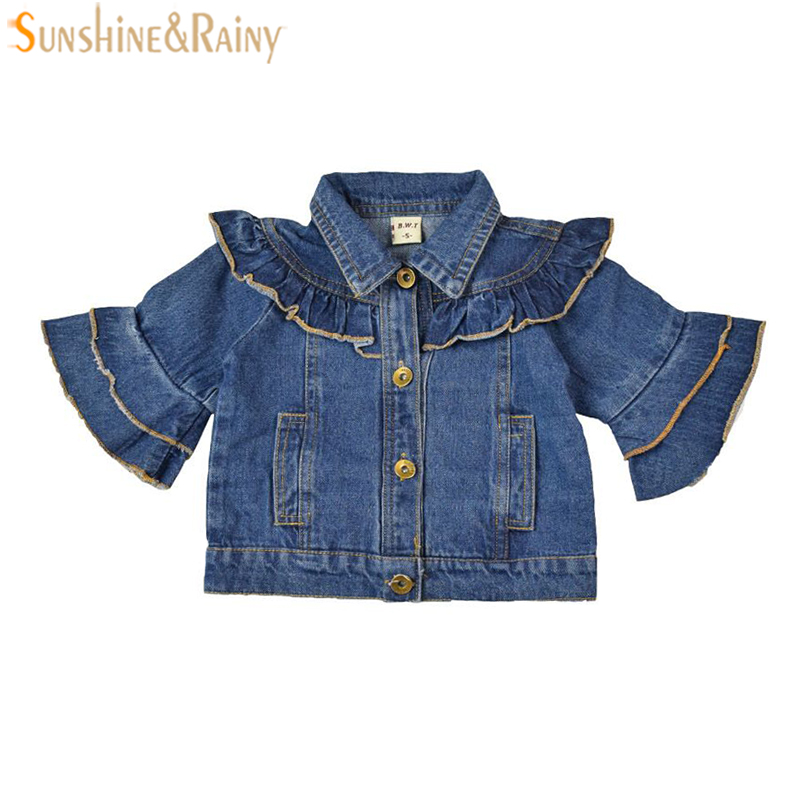 Baby Girl Jeans Coat Spring Jacket Ruffle Speaker Sleeve Kids Denim Coat Toddler Girls Cardigan Children Outwear Coats