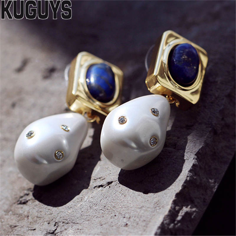 KUGUYS Fashion Jewelry Baroque Earrings for Women Vintage White Pearl Water Drop Earring Brincos Gift Party Wedding AccessoriesKUGUYS Fashion Jewelry Baroque Earrings for Women Vintage White Pearl Water Drop Earring Brincos Gift Party Wedding Accessories