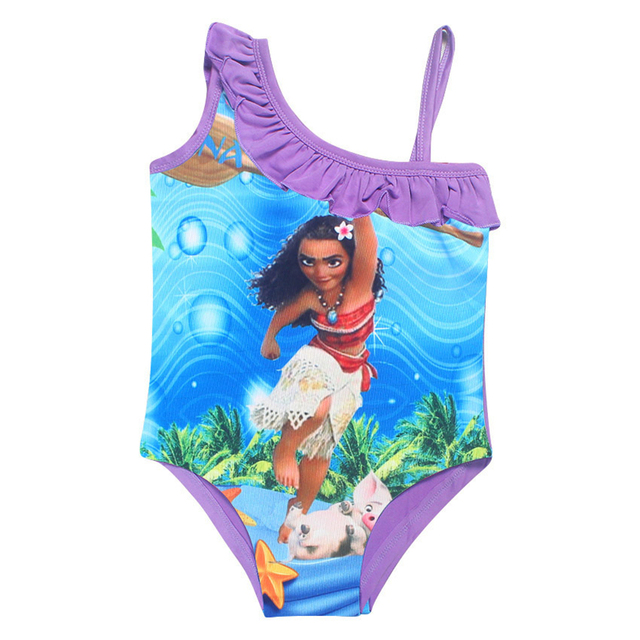 40953bb3c8d 2018 Summer Girls One Piece Bikini Children Trolls Moana Biquini Infantil  Costume Off One Shoulder Bikinis Swimsuit for Kids