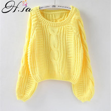 H.SA Roupas femininas Women Pull Sweaters 2018 New Yellow Sweater Jumpers Candy Color Harajuku Chic Short Sweater Twisted Pull-in Pullovers from Women's Clothing on AliExpress