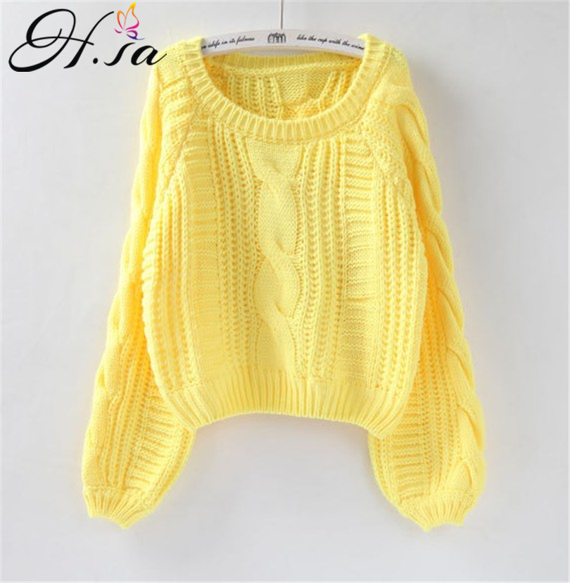 H.SA Roupas femininas Women Pull Sweaters 2020 New Yellow Sweater Jumpers Candy Color Harajuku Chic Short Sweater Twisted Pull(China)