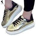 Noticias de Moda Venta Caliente, Primavera mujer SummernCasual Plana Cordón Zapatos de Plataforma Gruesa Zapatos de Lentejuelas de Las Mujeres Aumento de la Altura