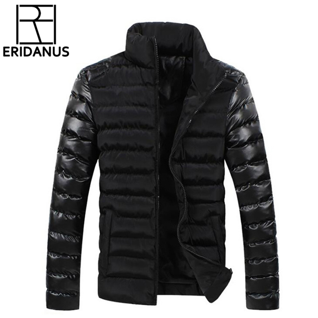 Flash Sale 2017 New Brand Winter Men Jackets Mens Coat Fashion Leather Sleeve Design Outerwear Down Cotton Padded Jacket Plus Size 3XL X496