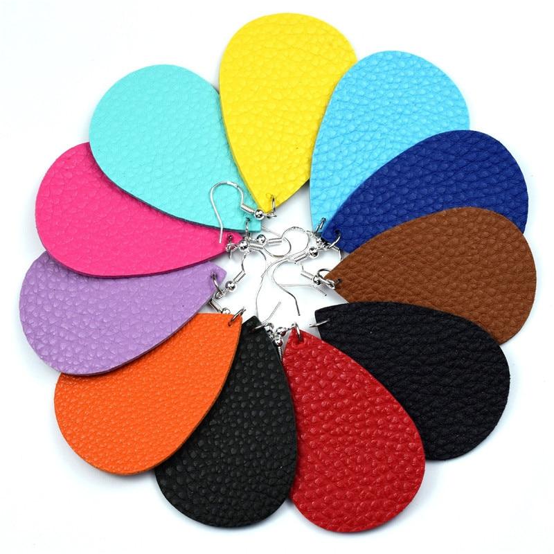 European PU Leather Earrings for Women Genuine Teardrop Earrings Jewelry Colorful Solid Drop Dangle Earings E229