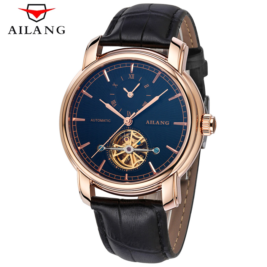 Watches Men's 5ATM Waterproof Tourbillon mechanical Watch Luxury Men Automatic Clock Man Leather Two time Military Clock 2017 atm amti 1128s