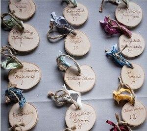 Деревянная бирка DIY, деревянный ломтик с отверстием и лентой из мешковины, карточка сопровождения на ломтиках березы, рустикальная Свадебна...