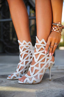 sandalias mujer 2018 White Gladiator Anke High Heel Sandals White Cut Out Shoes Women