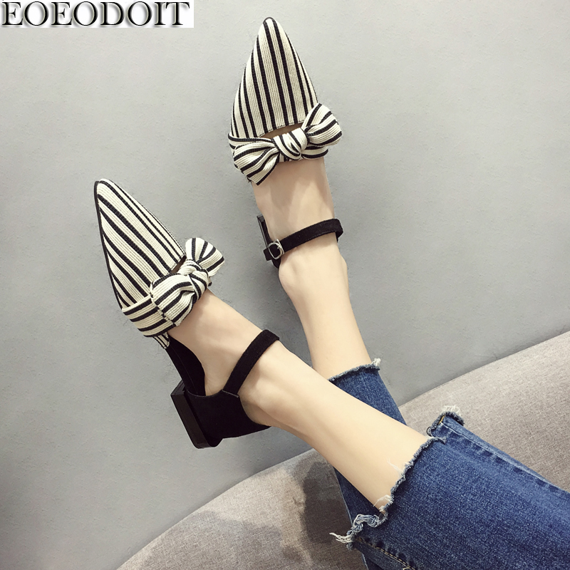 EOEODOIT Spring Summer Flat Shoes Women Shallow Mouth Low Heel Sandals With Bow Fashion Stripe Pointed Toe Ankle Strap ShoesEOEODOIT Spring Summer Flat Shoes Women Shallow Mouth Low Heel Sandals With Bow Fashion Stripe Pointed Toe Ankle Strap Shoes