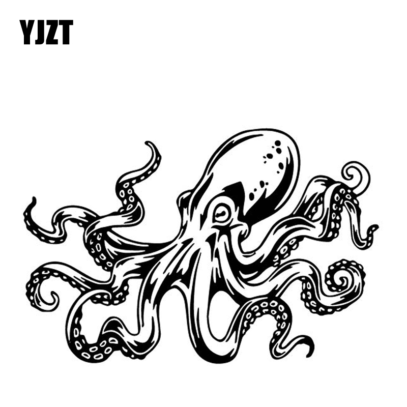 YJZT 17.9CM*11.8CM Octopus Creative Pattern Decorate Car Stickers Body Of Car Vinyl Decal Black/Silver C4-2107