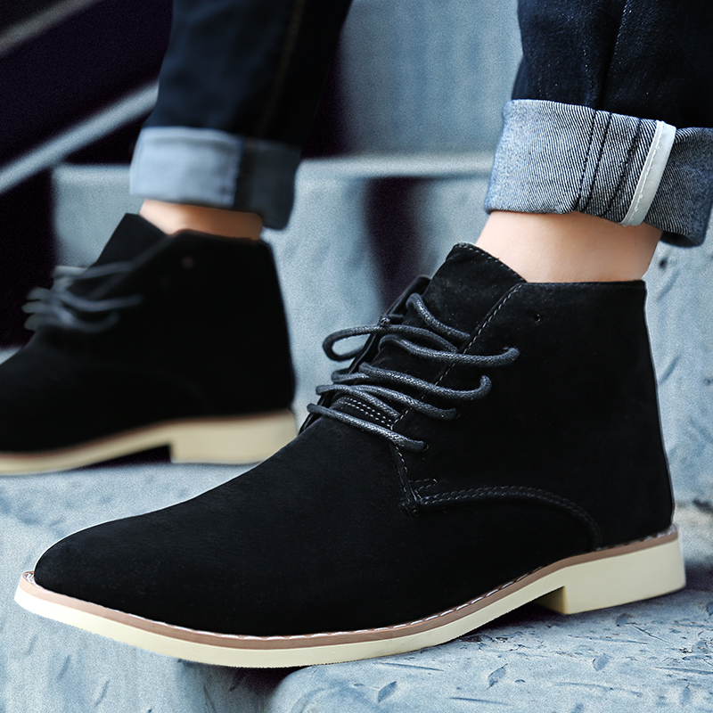 MIUBU Men Boots Fashion Comfortable Autumn Lace-Up Casual Ankle Rubber Boots Male Shoes Hombre Sapatilha Black Blue Yellow