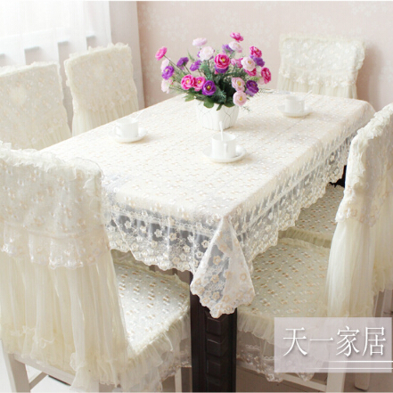 Free Shipping Fashion Flowers Embroidered Table Cloth Elegant Lace  Tablecloths For Wedding Party Pink Beige Color