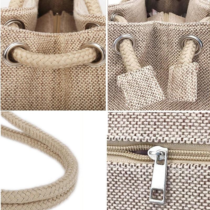 Fashion Women Linen Handbag Large Shopping Tote Holiday Big Basket Bags Summer Beach Bag Woven Beach Shoulder Bag JXY550 5