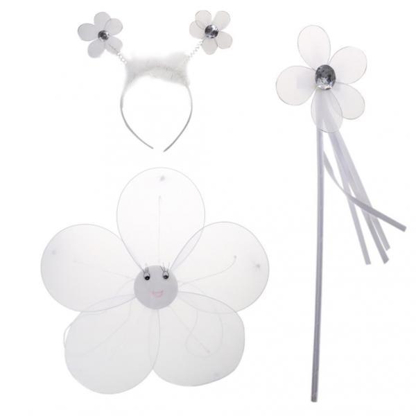Fairy Princess Kid Costume Sets Girls Flower Wings Wand Headband White