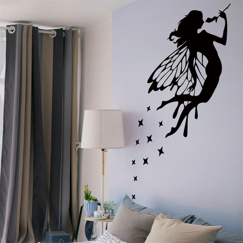 Romantic Flower Fairy Swing Wall Stickers for Kids Room Wall Decor Bedroom Living Room Children Girls Room Decal Poster Mural2.3