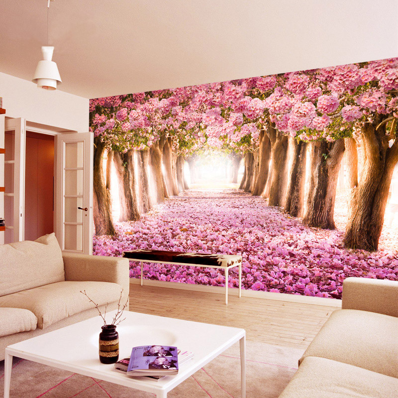Cherry blossom wallpaper mural 3d stereo bedroom romantic ...