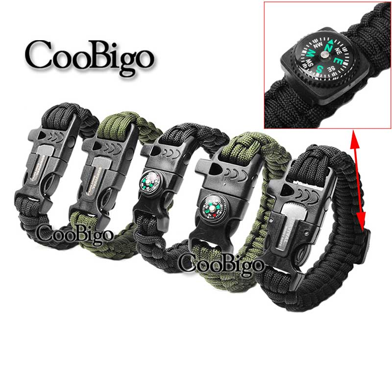 BLACK Survival Bracelet Outdoor Paracord Compass Scraper Whistle Fire Starter