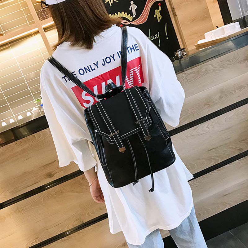 Image 5 - Women Leather Backpacks For Teenage Girls School Bags Sac a Dos Preppy Style Female Backpack Mochilas Retro Rucksack 2020 XA104HBackpacks   -