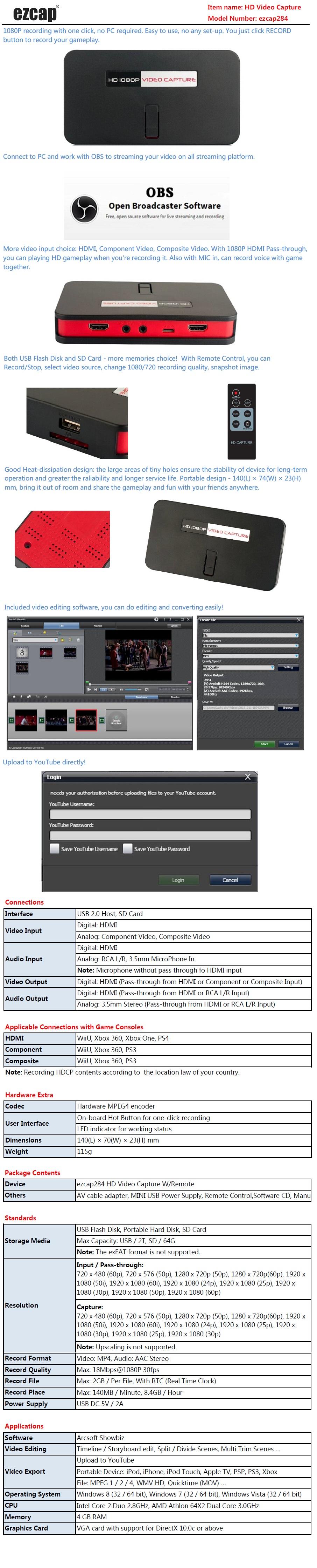 Generic OBS Live Broadcast Game Video Capture EZCAP 284 HDMI