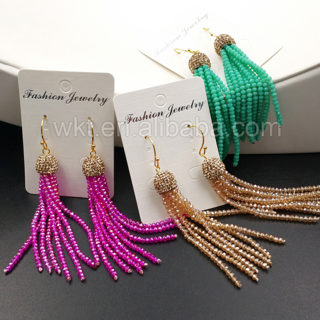 204491043 WT-E317 Wholesale 10pcs Crystal Tassel Earrings Fashion Summer Popular  Colorful Crystal Beads Earrings Design