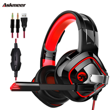 ASKMEER K2 PS4 3.5 mm Gaming Headset casque Stereo wired Headphones with Mic Breathing Light for Xbox One Laptop Computer gamer