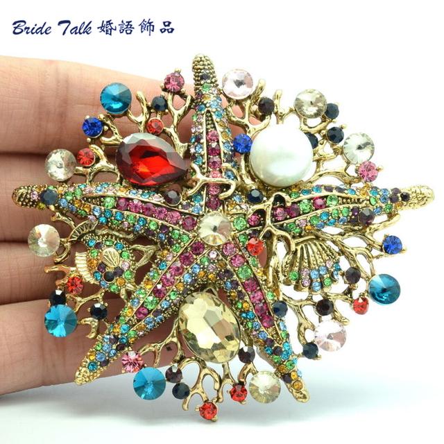 Mulheres do vintage jóias BLN6412 Starfish Pin Broche de Pérolas Cristais de Strass Broches Frete Grátis