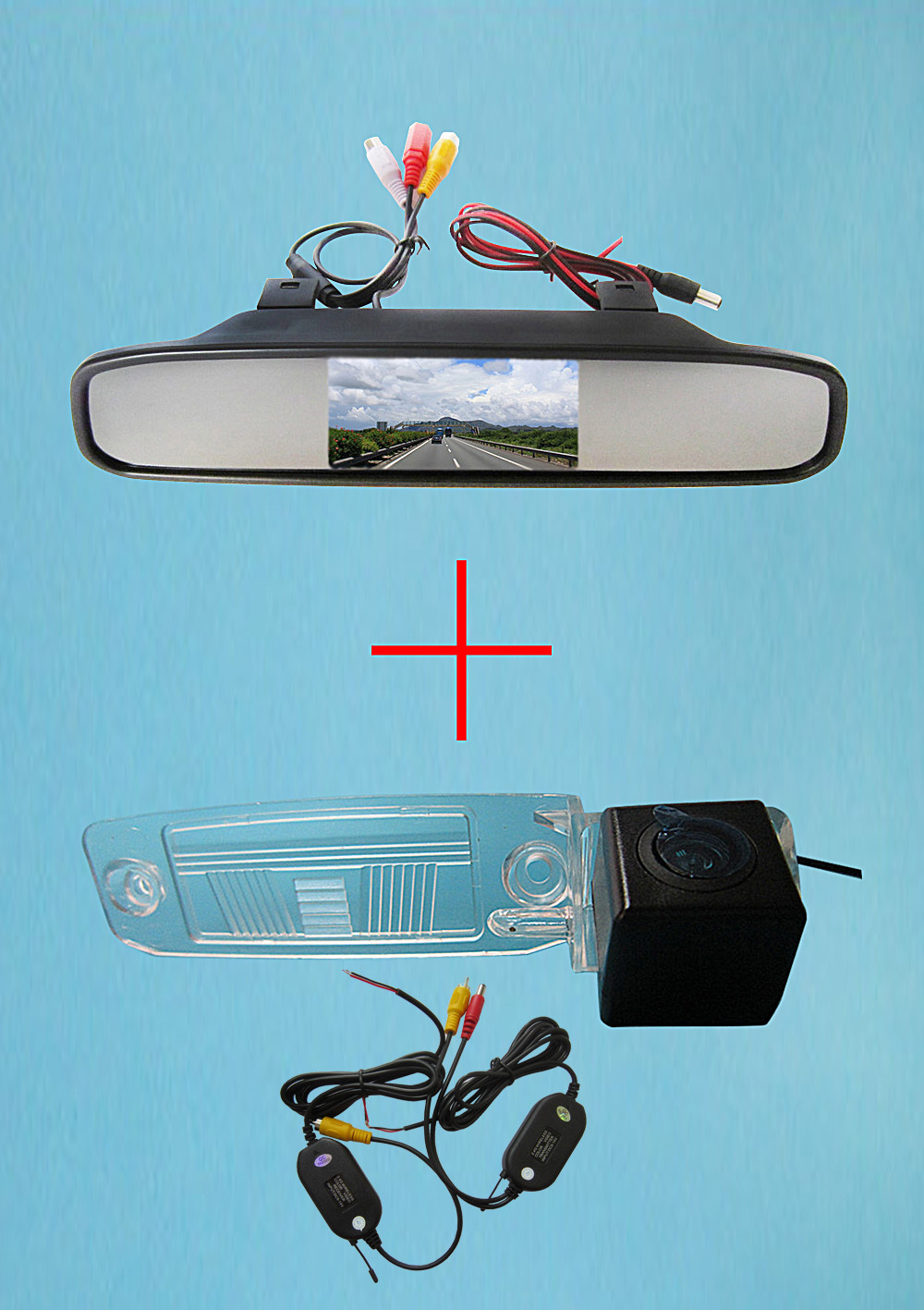 Wireless Color CCD Car Rear View backup waterproof Camera <font><b>for</b></font> <font><b>KIA</b></font> SPORTAGE R 2010-2014,with 4.3 Inch Rear view Mirror <font><b>Monitor</b></font>