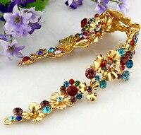 Flor de oro de joyería nupcial rhinestone tiara de la corona de la vendimia del color del oro Asiático vestido de novia accesorios nupciales de la joyería