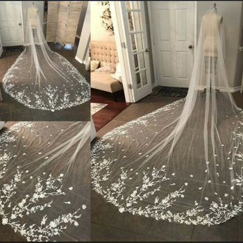 Ivory/White Bridal Veils Lace Edge Tulle Cathedral Appliques Wedding Veils Long 2019 Flowers new Wedding Accessories 1T