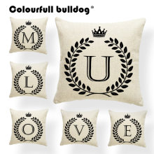 Alphabet Cushion Covers Word Letter Sweet Home Accent Pillow Cushion Case Bed Gift Throw Pillows 17.7Inch Linen Photo Customize(China)
