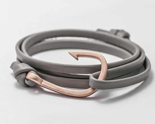 Fashion Genuine Cowhide Gray Leather With Rose Gold Fish Hook Bracelet