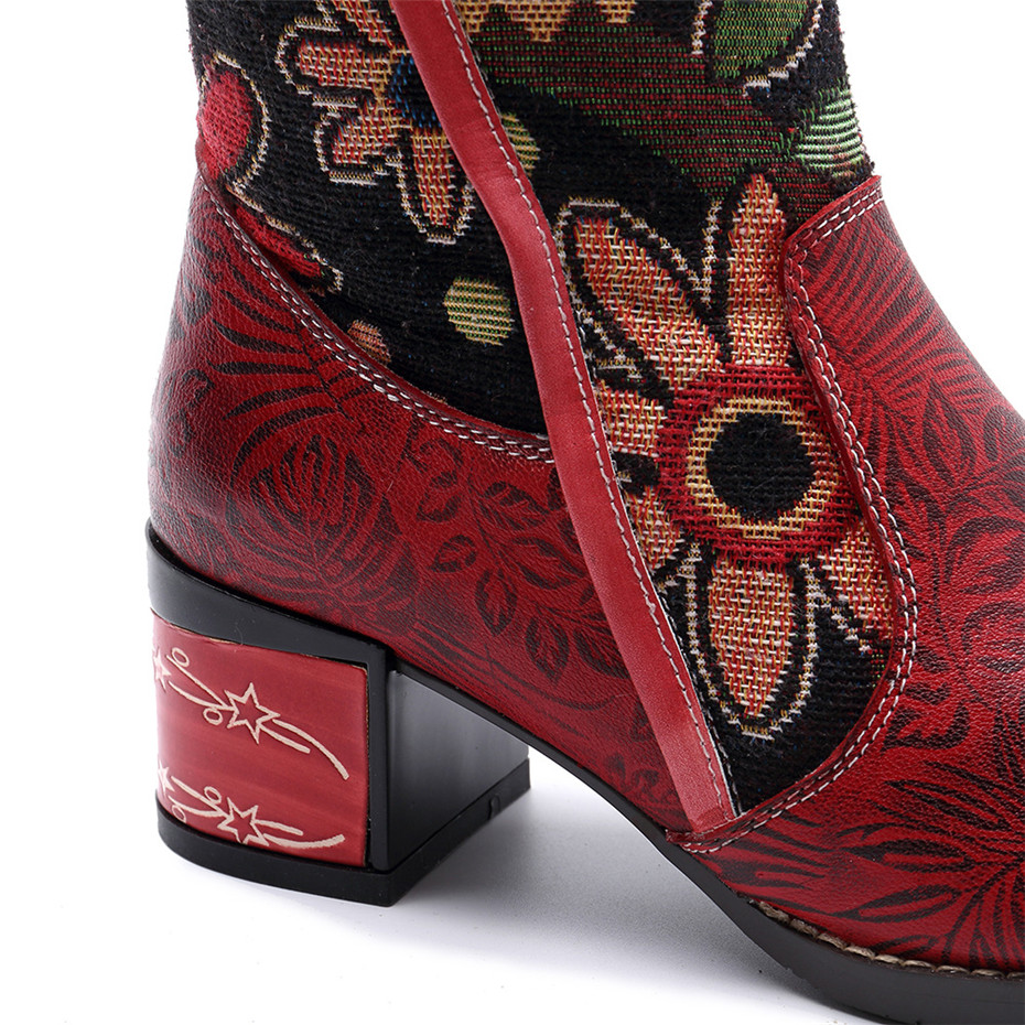 Fashion Patchwork Western Cowboy Boots Women Shoes Bohemian Genuine Leather Shoes Woman Vintage Side Zip Knee High Riding Boots (14)