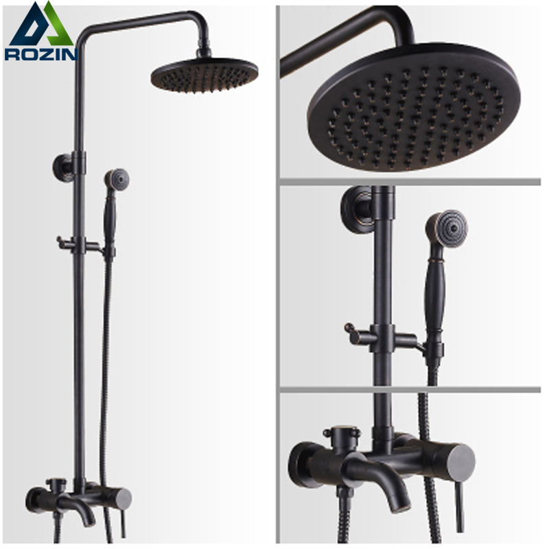 Wall Mounted Rainfall 8 Shower Set Faucet with Hand Shower Black Color Rain Shower Head Bath and Shower Mixer Kits rainfall wall mounted shower set bathroom shower mixer faucet with 8 inch shower head bath shower set