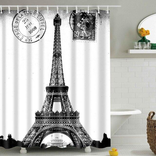 Новая занавеска для душа с рисунком башни Парижа, цветной экологически чистый полиэстер, высококачественный моющийся ванный декор, занавес...