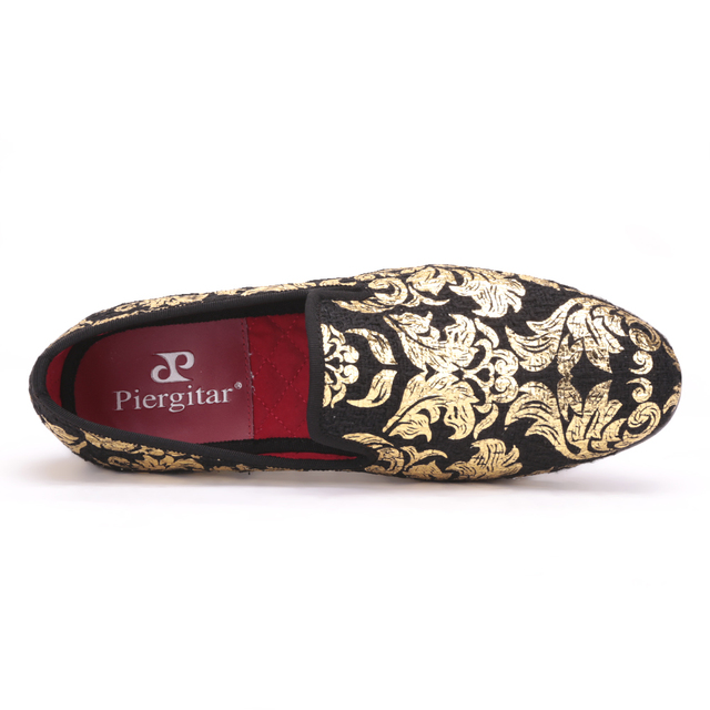 Piergitar New High-end Gold printing Men Shoes  Luxury Fashion Men Loafers Men's Flats Size US 4-17 Free shipping