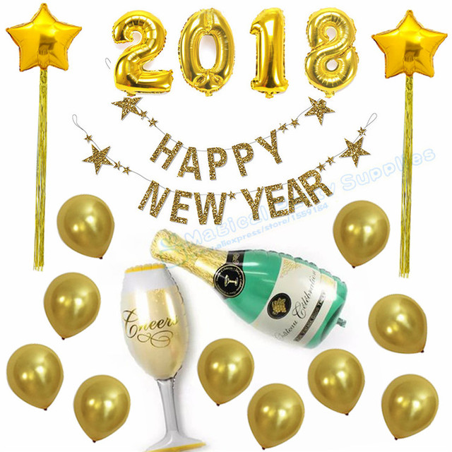 10 sets happy new year gold glitter banner foil helium 2018 balloon star balloon with tinsel