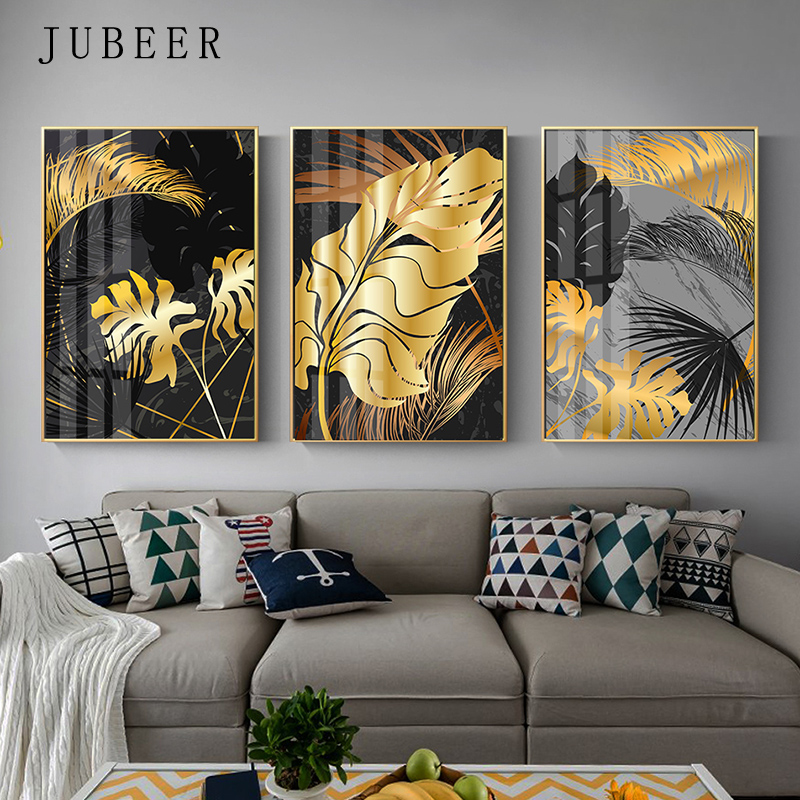 Golden Leaves Wall Pictures For Living Room Tropical Plants Canvas Painting Abstract Art Paintings On The Home Decor