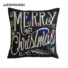 Simple LED Flax Printed Merry Christmas  Cushion Cover Woven Decorative Pillowcase Fashion Letter Pillow Case 45Cm*45Cm