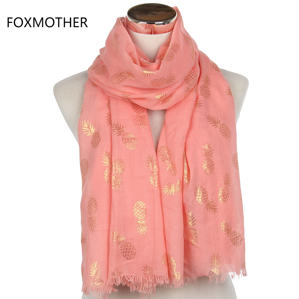 FOXMOTHER 2019 New Brand Fashion White Pink Bronzing 금 파인애플 스카프 프린지 Soft Foulard Bufanda