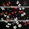 Nail Art Decoração 3D Nail Art Sticker 100 pçs/lote Resina Coulorful Batterfly/Flor/Coração/Coelho ect Com diamante-Frete grátis