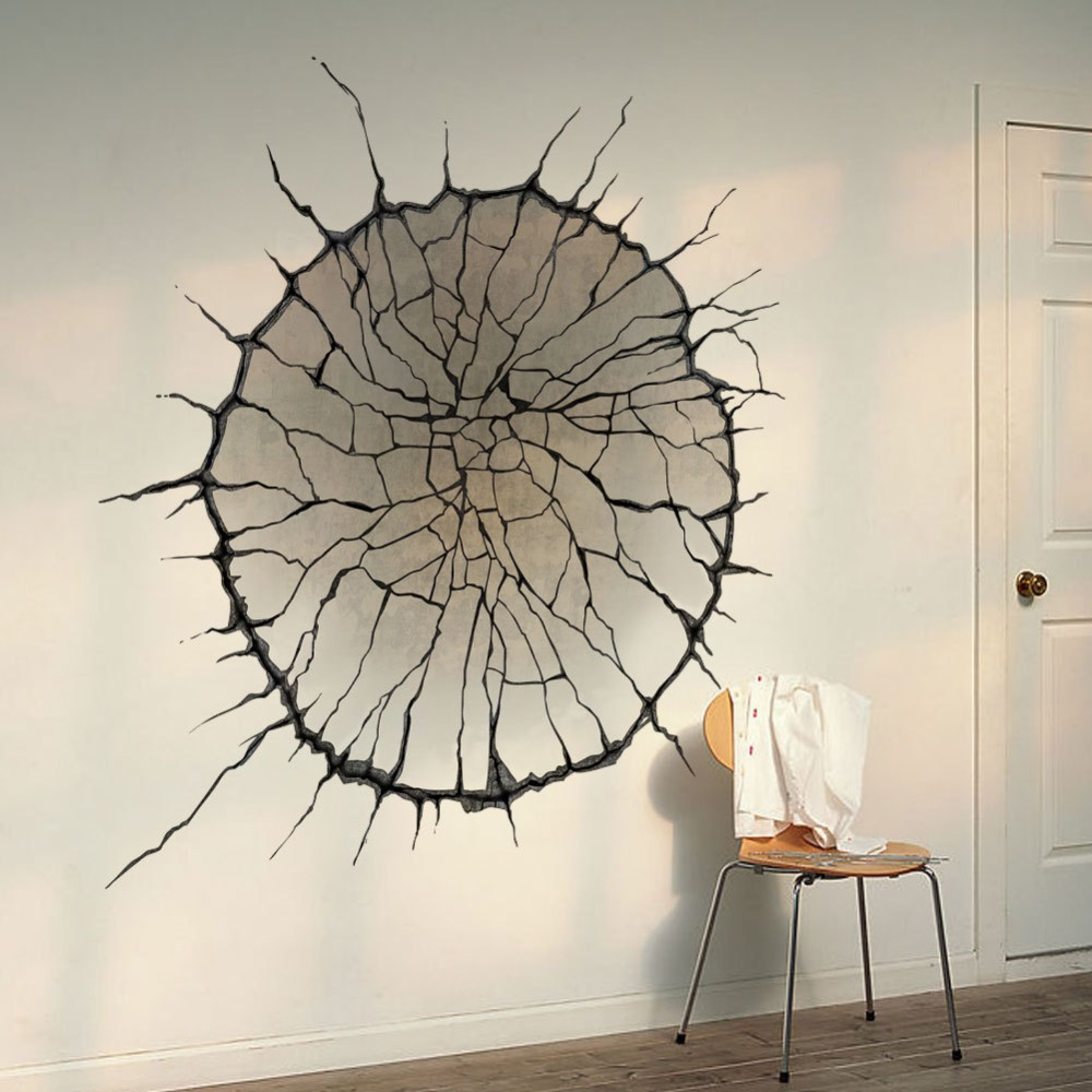 3D Cracked Wall Art Mural Decor Spider Web Wallpaper Decal Poster ...