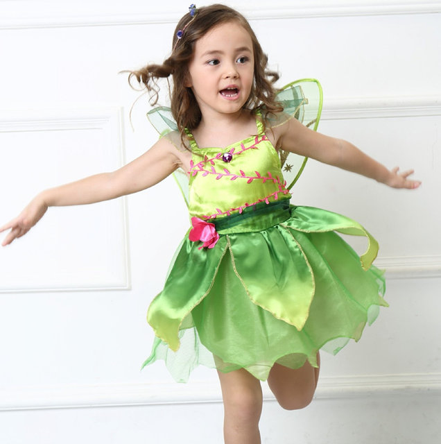 Children Girlu0027s Deluxe Green Tinkerbell Fairy Costume Tinker Bell Princess Fancy Dress Halloween Cosplay Clothing  sc 1 st  Aliexpress & Online Shop Children Girlu0027s Deluxe Green Tinkerbell Fairy Costume ...