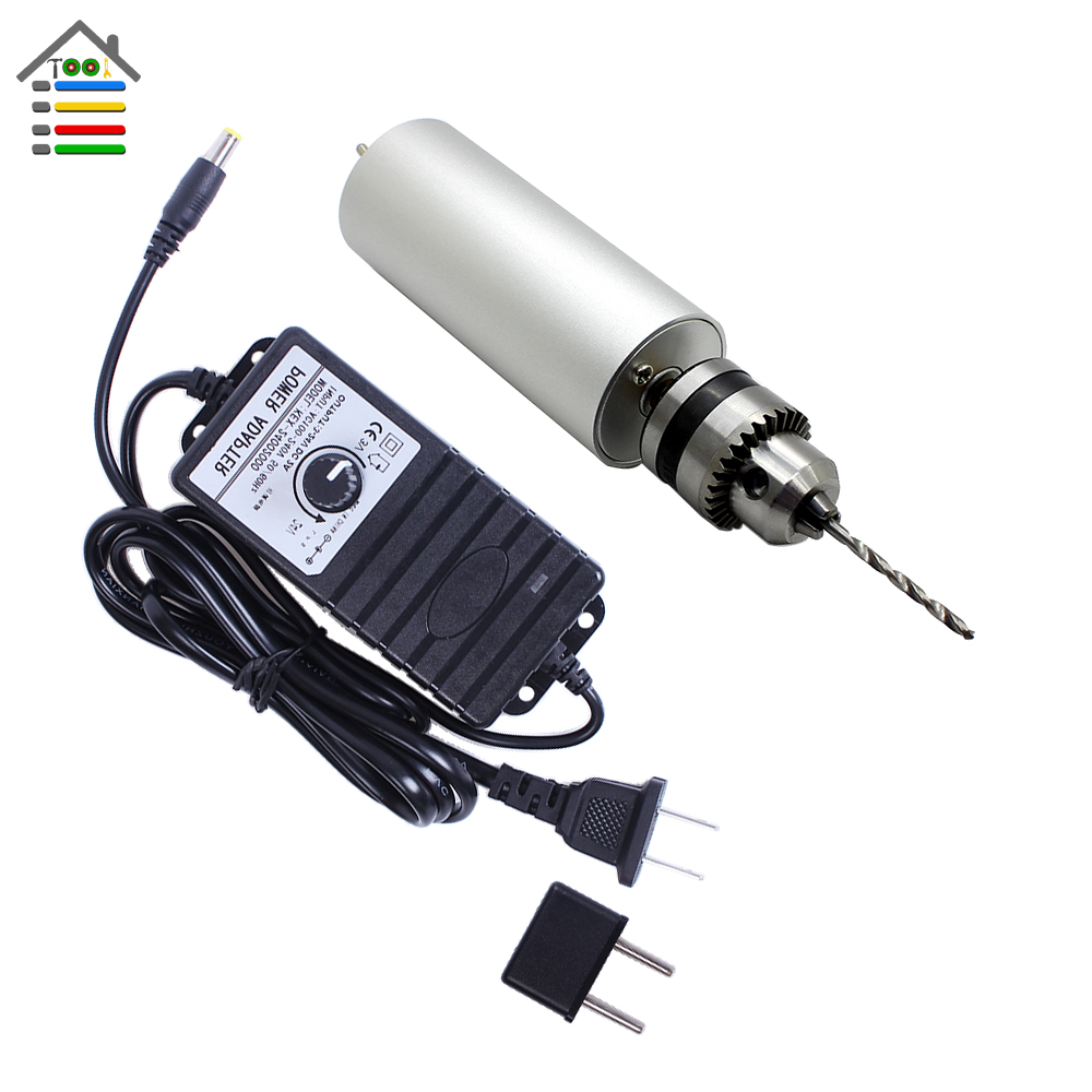 Adjustable 3-24V Adapter Power Supply Hand Drill PCB Wood Motor Drilling Twist Bit Set 0.6-6mm B10 Keyless Chuck US/EU Plug