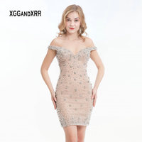 2019 Luxury Bodycon Nude Short Homecoming Dress Sweetheart Off Shoulder Beading Crystal Short Prom Dresses Sim fit Party Gown