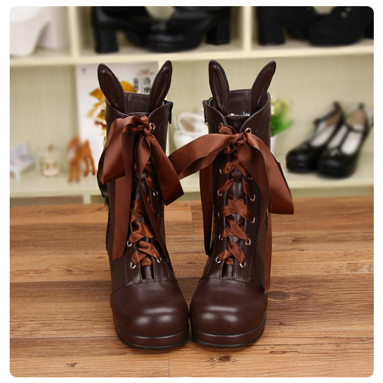 New Women Leather Mid-Calf Boots With Bunny Ears Ladies Brown Shoes Punk High Heels Boots Butterfly-Knot Lace-Up Boots For Girls