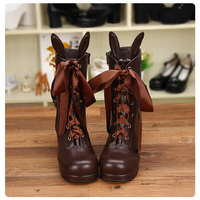 New Women Leather Mid Calf Boots With Bunny Ears Ladies Brown Shoes Punk High Heels Boots Butterfly Knot Lace Up Boots For Girls