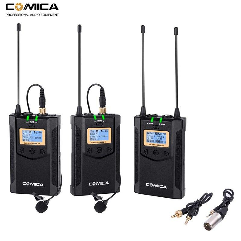 Câmera sem fio microfone comica wm100 plus dupla lapela lapela microfone sistema para canon nikon fuji câmeras, câmera de vídeo, smartphone