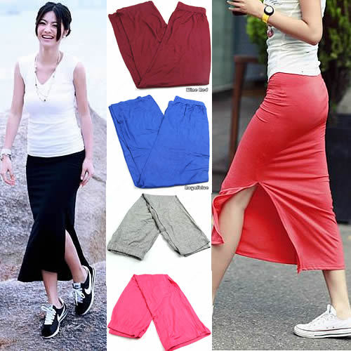 Aliexpress.com : Buy New Fashion Side Split Slit Maxi Skirt Lady ...